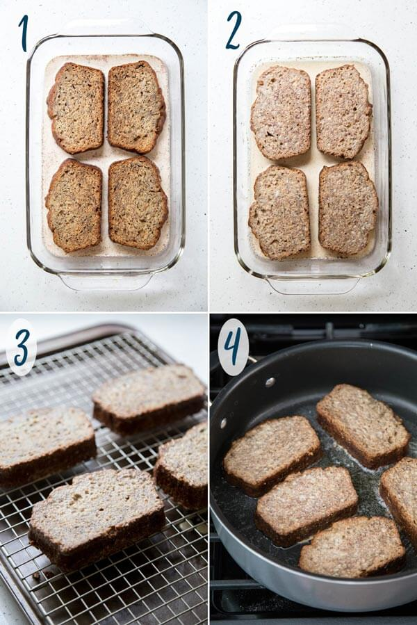 Soaking and frying banana bread to make french toast