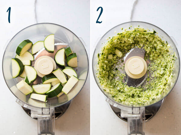 Shredding zucchini in a food processor