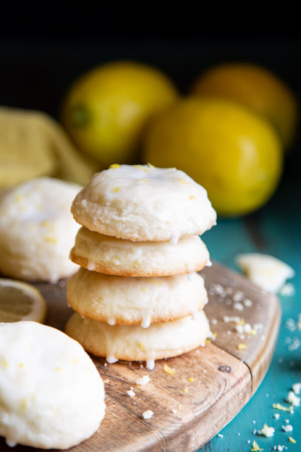 A stack of 4 lemon cookies