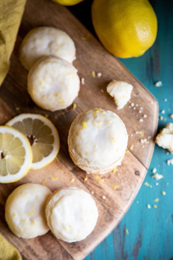 Lemon cookies on a wooden board