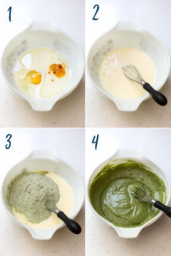 Making matcha cupcake batter