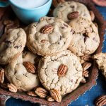 Chocolate chip pecan cookies on a serving tray