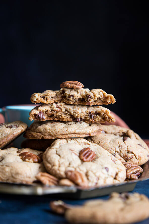 A stack of pecan chocolate chip cookies