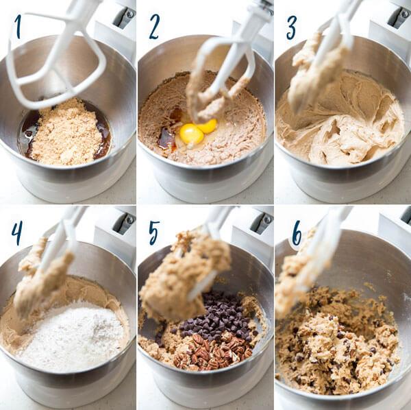 Making chocolate chip pecan cookie dough