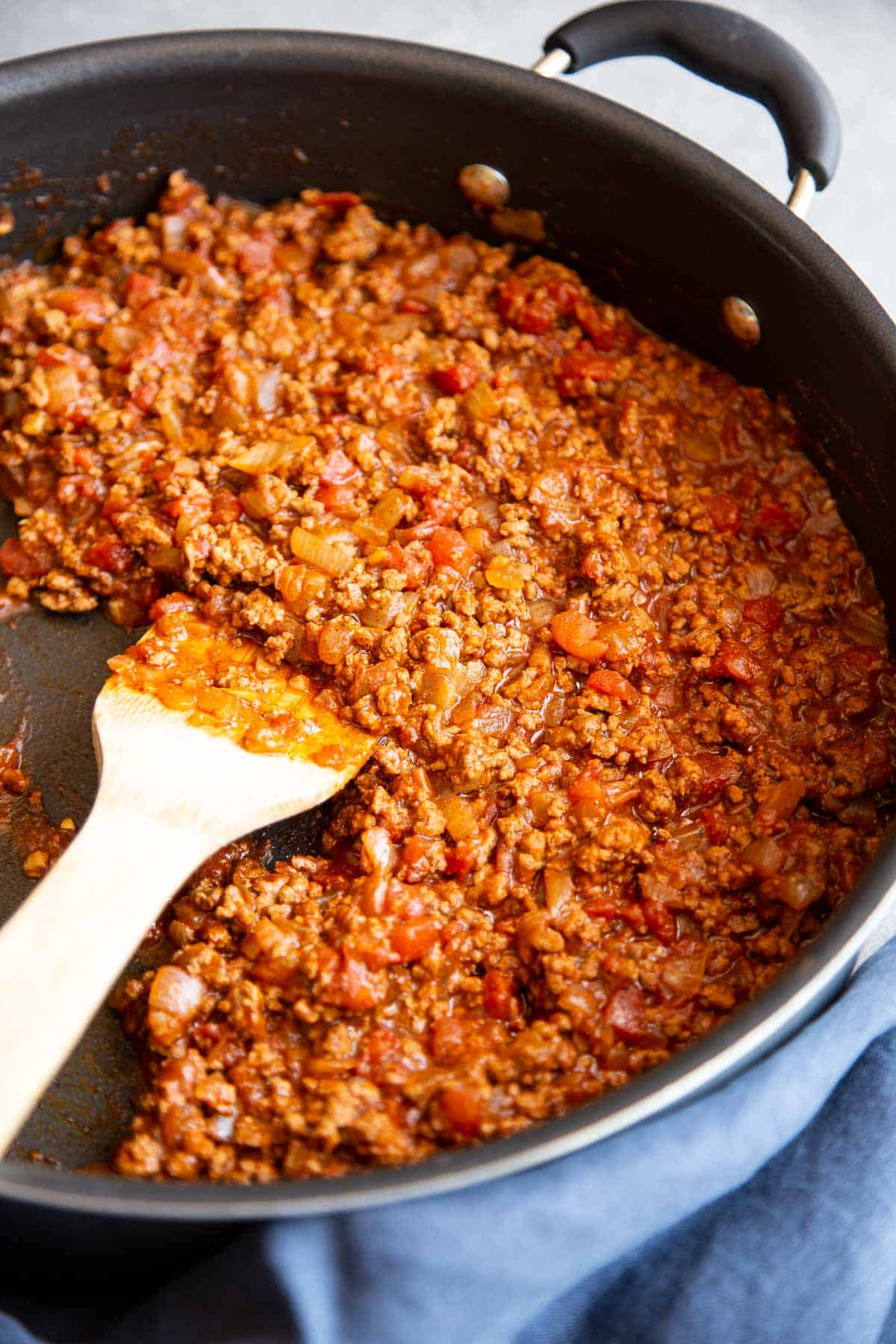 Cooked beef chili in a skillet