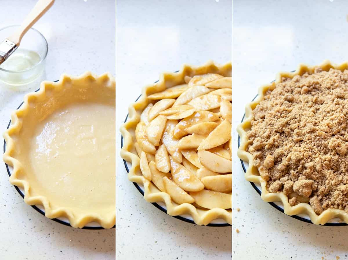 A collage of 3 photos showing how to assemble the dutch apple pear pie for baking