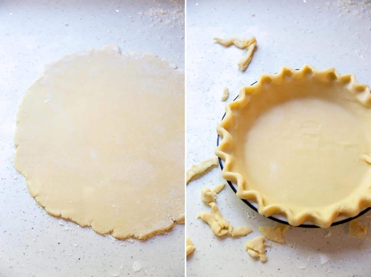 A collage of 2 photos showing how to roll out and shape the pie crust