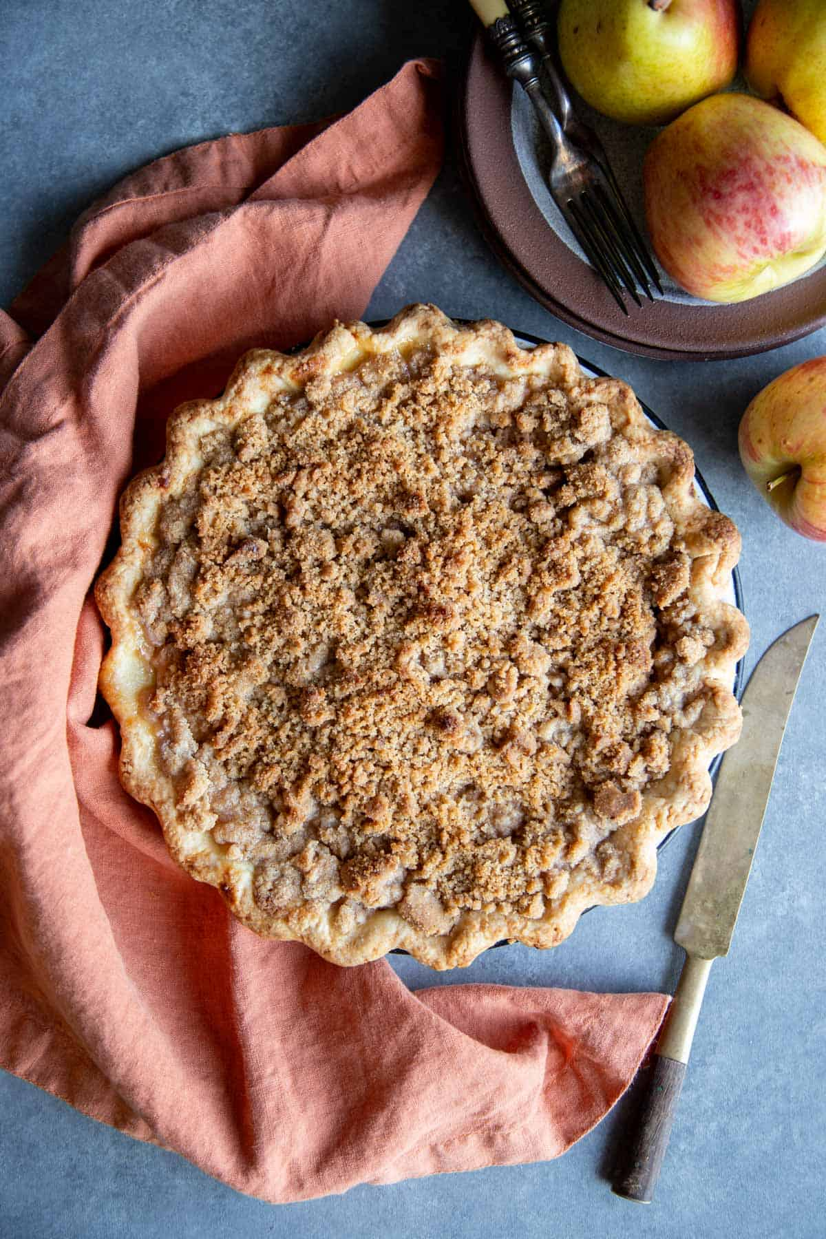 A whole Dutch Apple Pear Pie in a pie pan