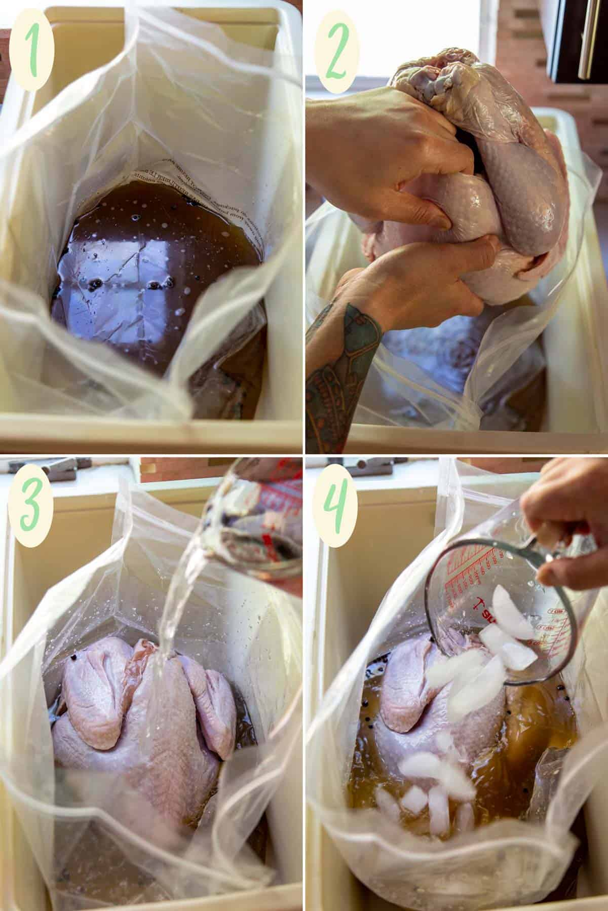 A collage of 4 photos showing how to place the turkey in the brine