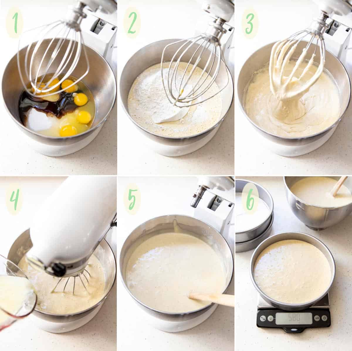 Collage of 6 photos showing how to make the vanilla cake batter