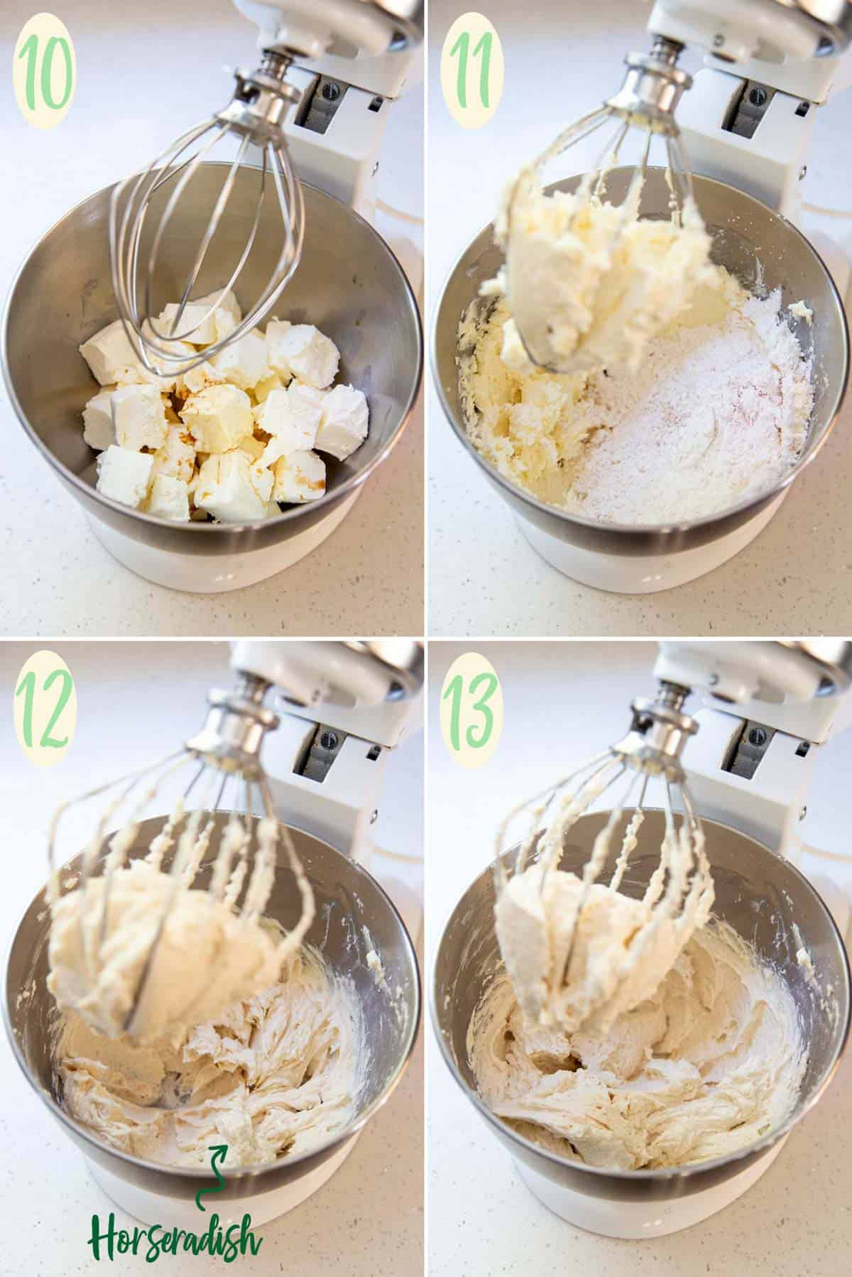 Collage of 4 photos showing how to make the horseradish cinnamon cream cheese frosting in a stand mixer