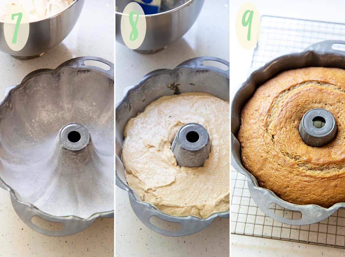 Collage of 3 photos preparing the cake batter for baking in a bundt pan