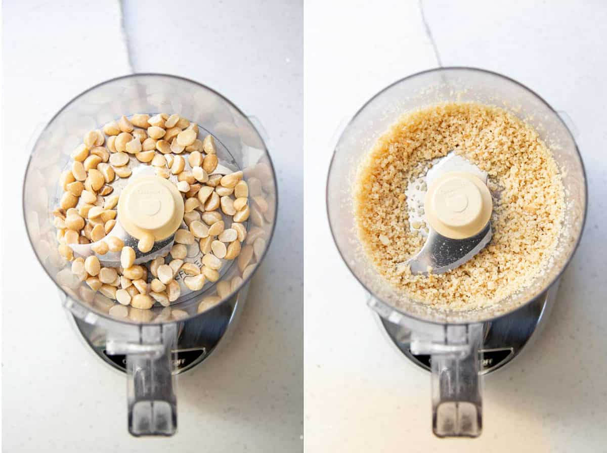 Chopping macadamia nuts in a food processor