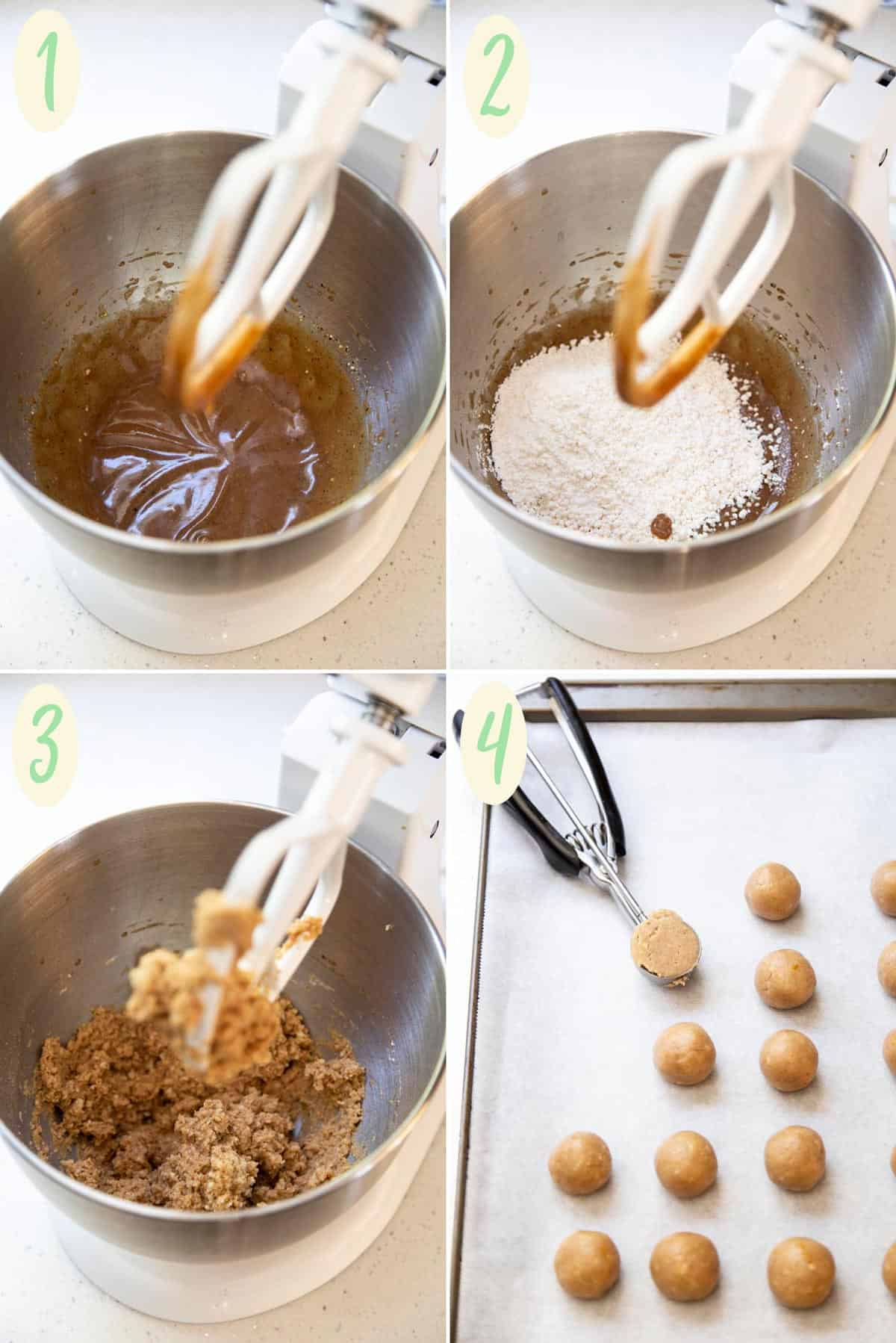 Collage of 4 photos showing how to make snowball cookie dough
