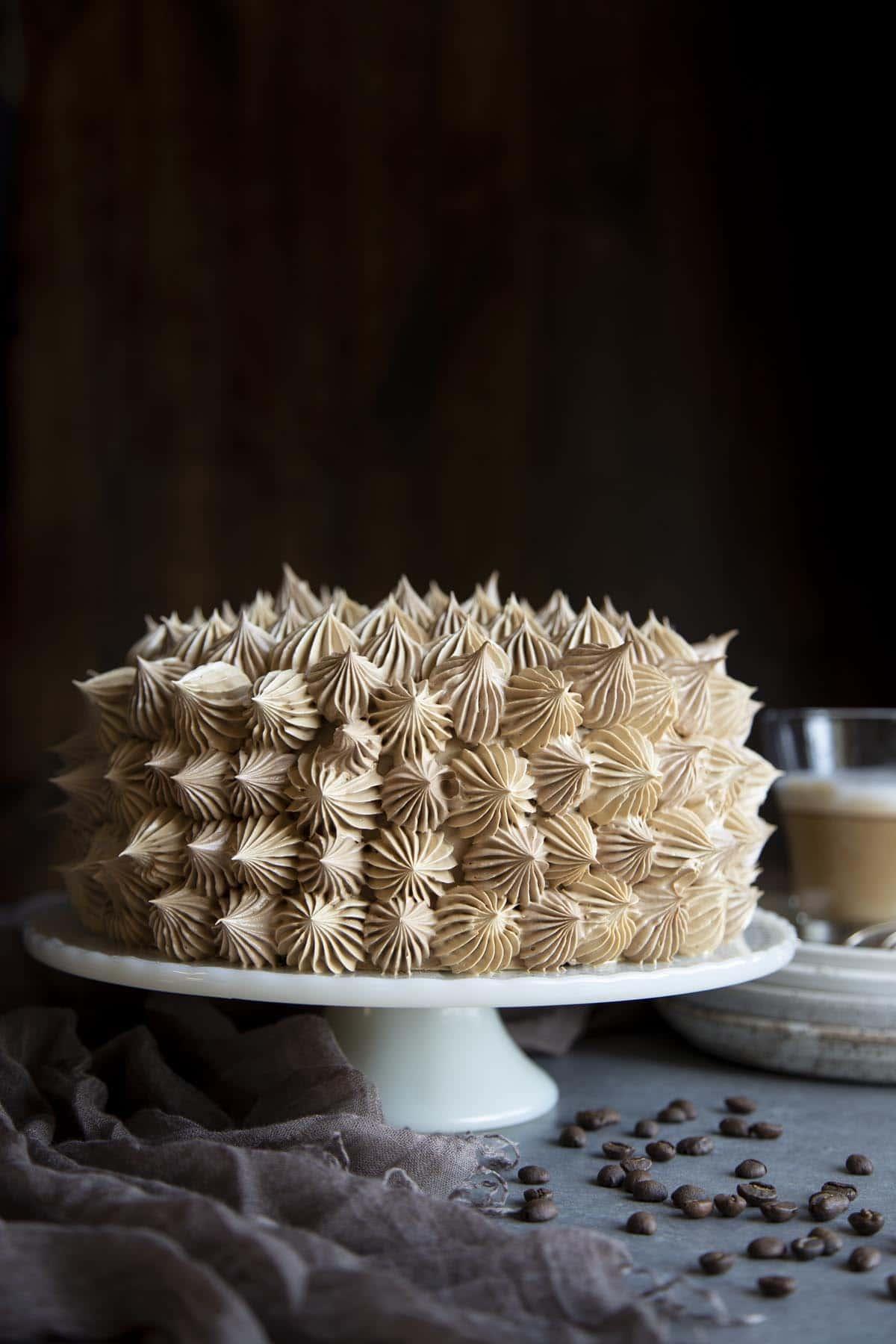 Mocha cake on a cake stand