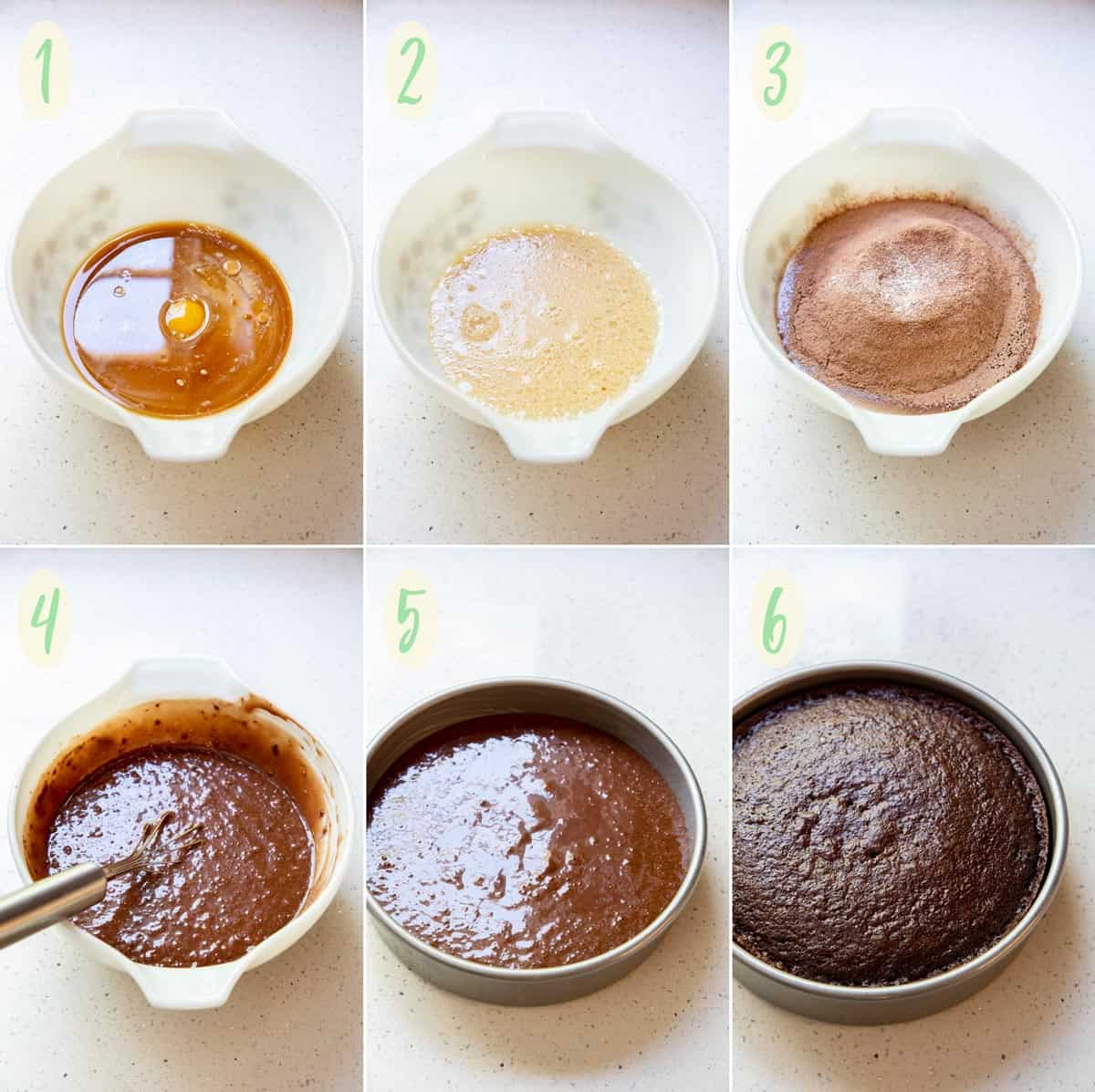 Collage of 6 photos showing how to make the chocolate cake