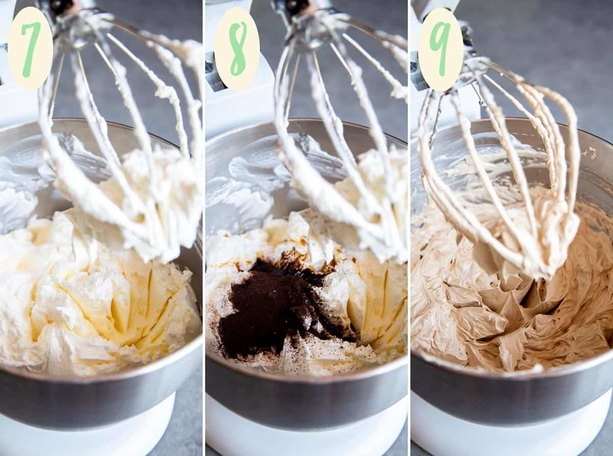 Collage of 3 photos showing how to make espresso buttercream in a stand mixer