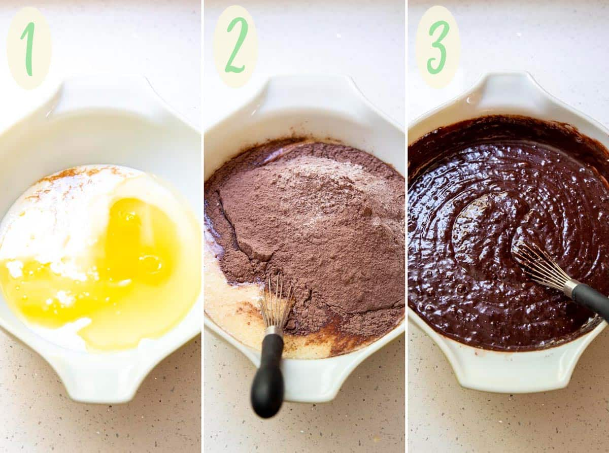 Collage of 3 photos showing steps to make the chocolate cake batter