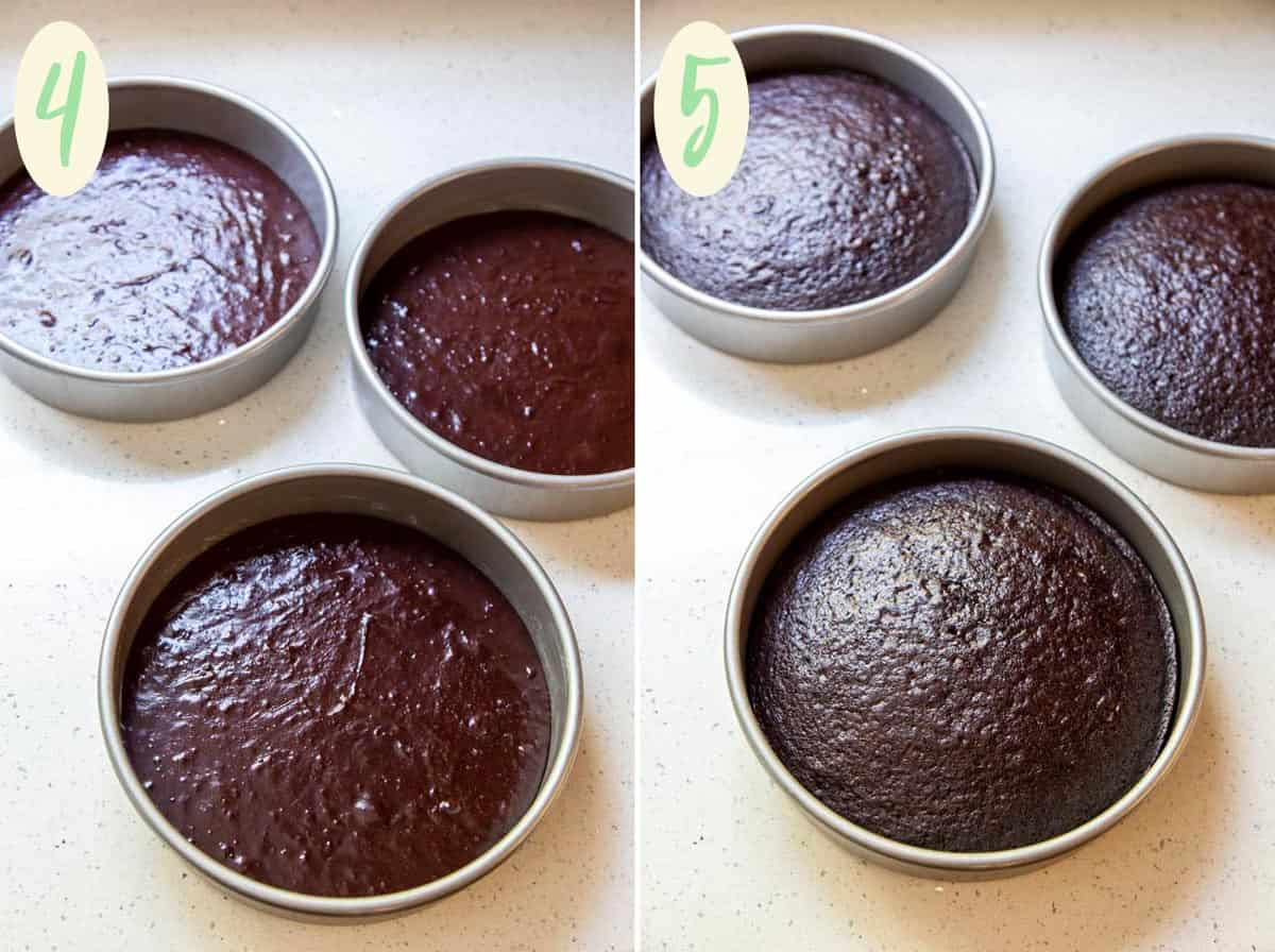 Collage of 2 photos showing chocolate cake batter in 3 pans before and after baking