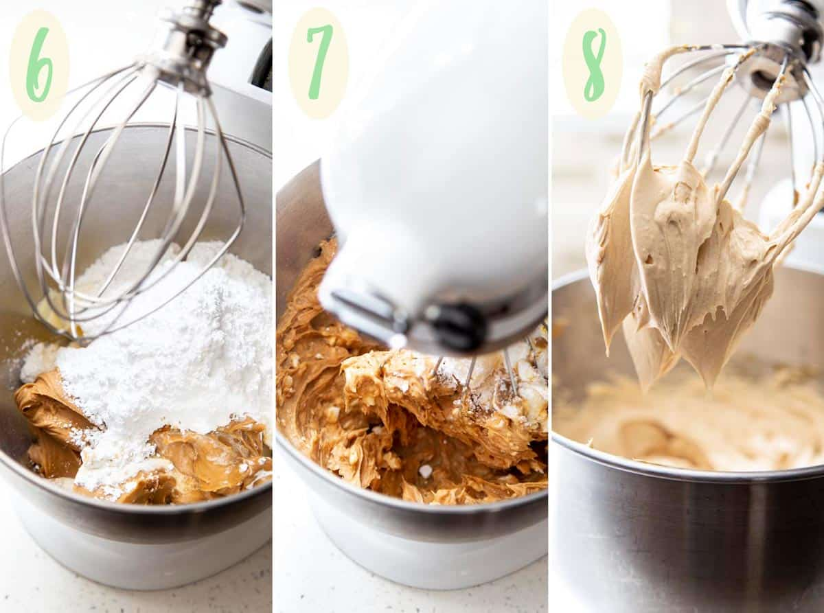 Collage of 3 photos showing how to make the peanut butter frosting