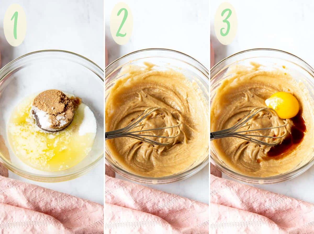 Collage of 3 photos showing process of making the cookie dough