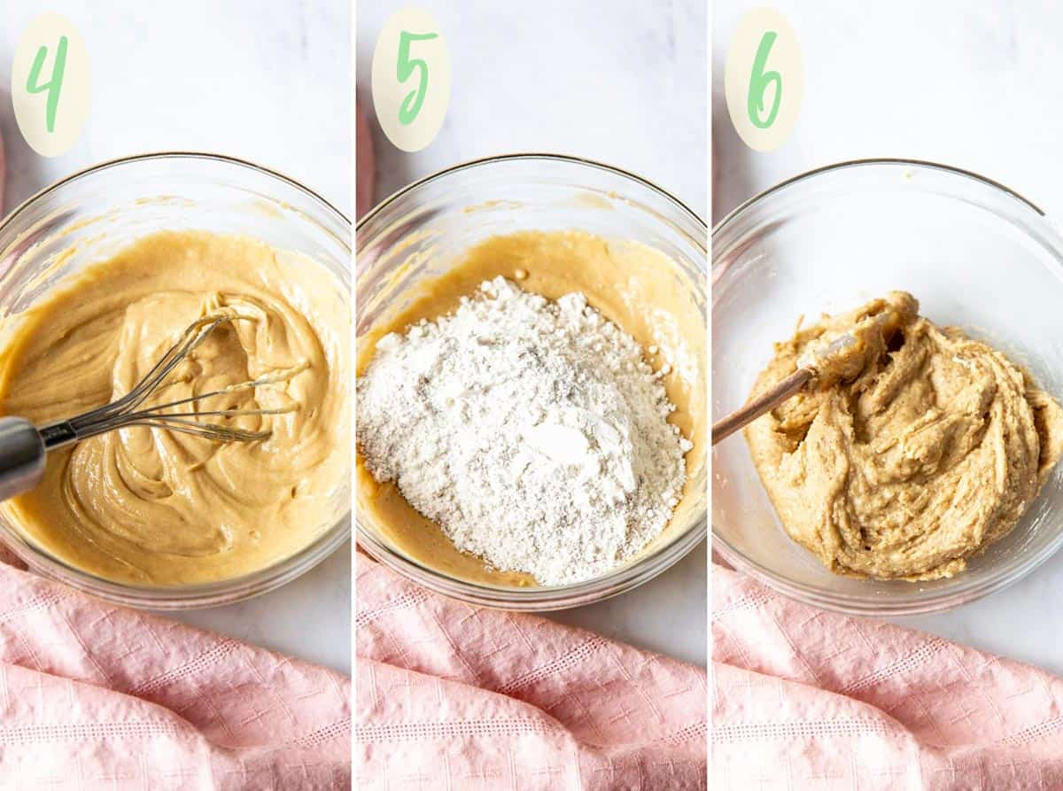 Collage of 3 photos showing step 4 - 6 of making the cookie dough