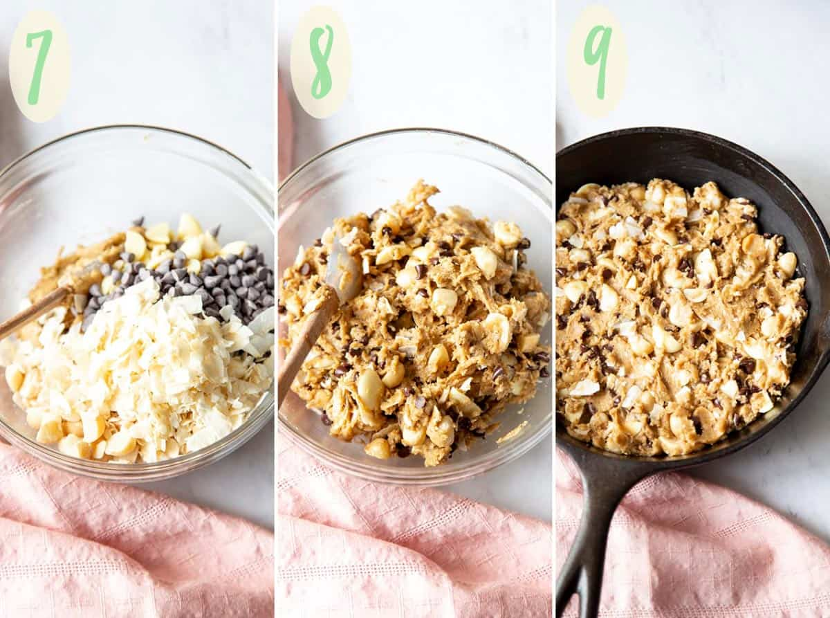 Collage of 3 photos showing step 7 - 9 of making the cookie dough