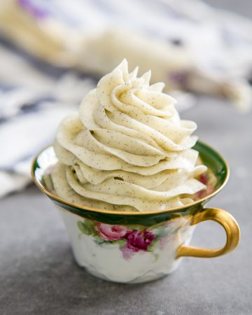 Vanilla bean swiss meringue buttercream in a tea cup