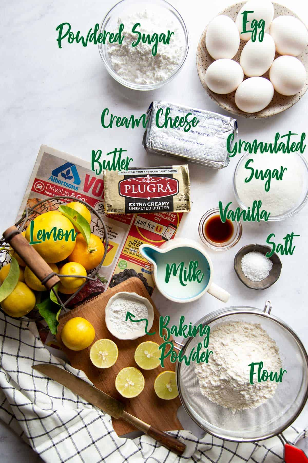 Ingredients laid out on a marble board with text overlay