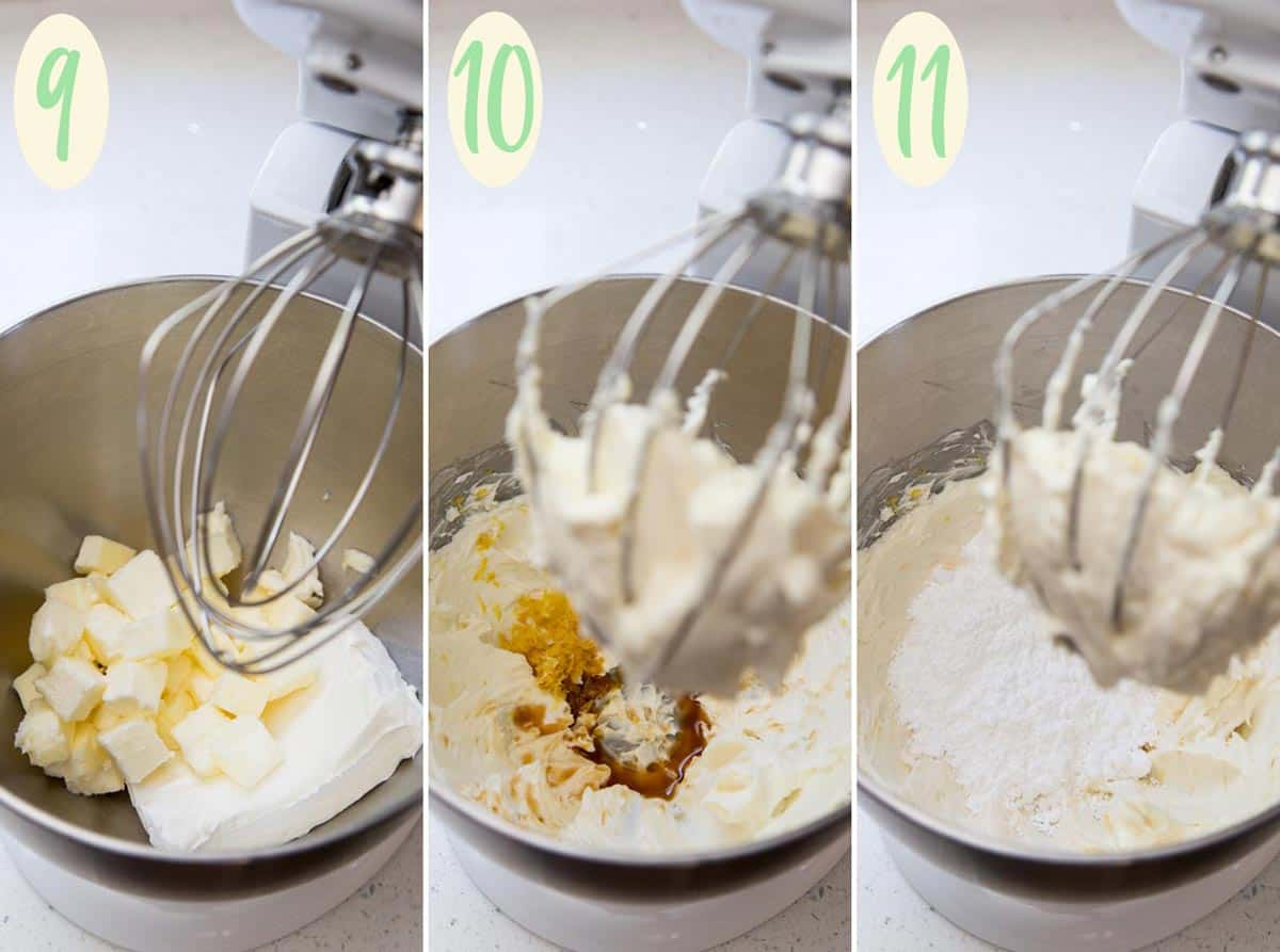 Collage of 3 photos showing step 9 through 11, making frosting