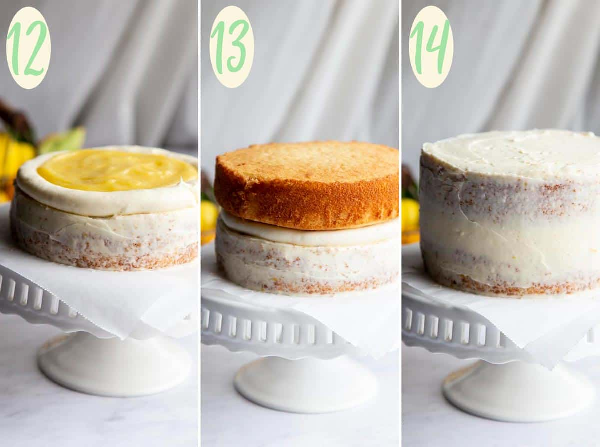 Collage of 3 photos showing step 12 through 14, assembling the cake