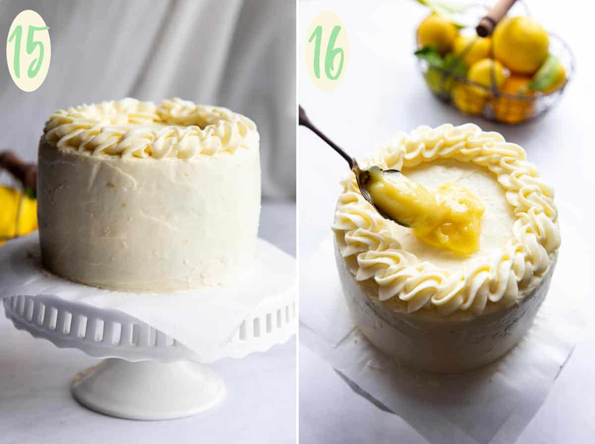 Collage of 2 photos showing step 15 through 16, assemble the cake