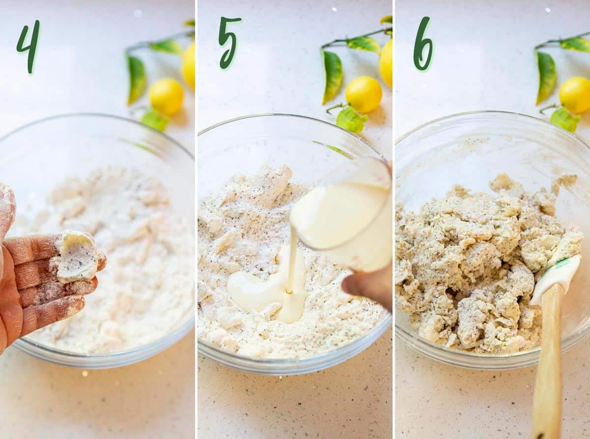 Collage of 3 photos showing step 4 to 6: making the scone dough