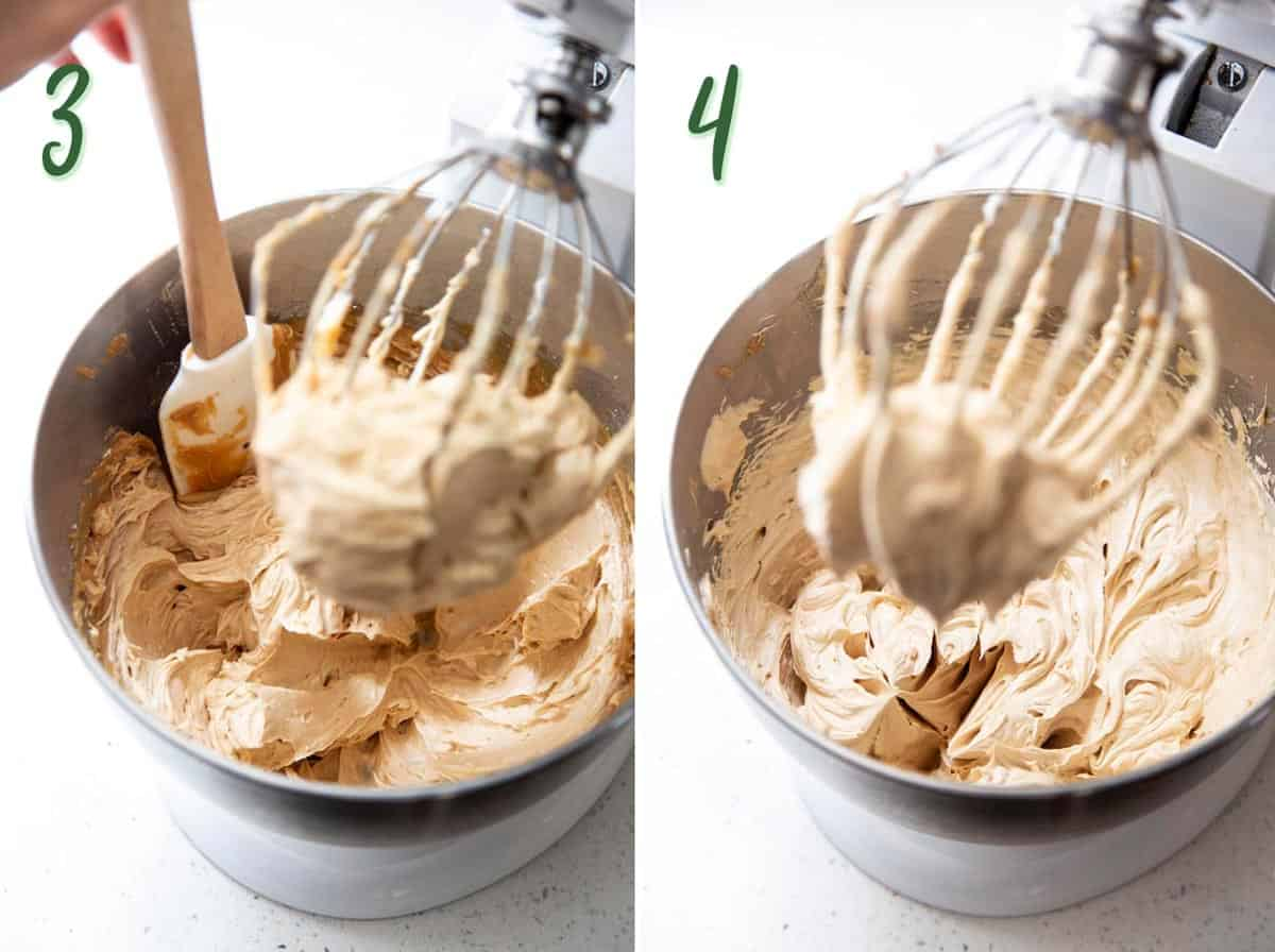 2 photos showing step 3 and 4: scraping down the side of the mixing bowl, whip frosting until creamy.