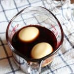 Eggs in soy sauce marinade.