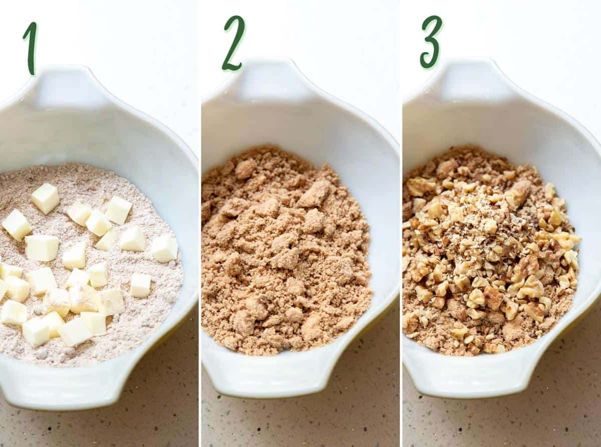 Collage of 3 photos showing how to make cinnamon walnut streusel.
