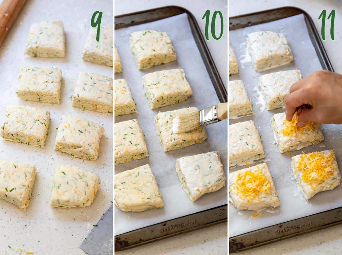 Collage of 3 photos showing cut biscuits being prepared for baking.