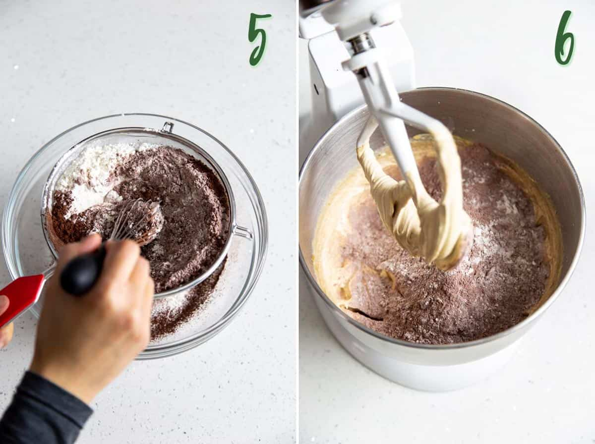 Collage of 2 photos showing dry ingredients are sifted and added to wet ingredients.