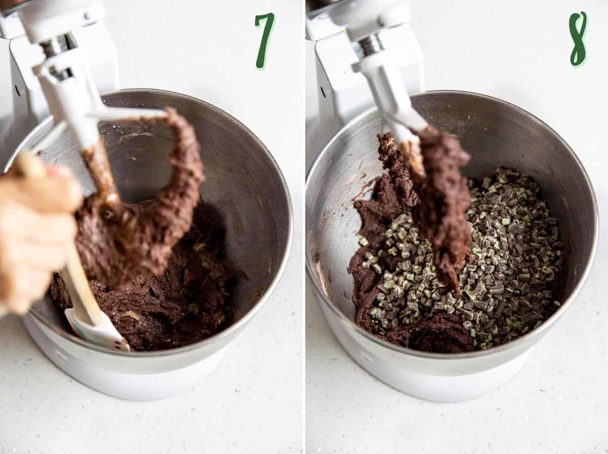 Collage of 2 photos showing chocolate cookies dough coming together and mint chips are added.