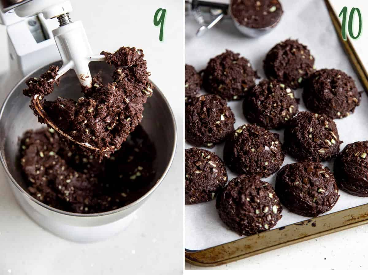 Collage of 2 photos showing chocolate mint chip cookie dough being divided into balls.