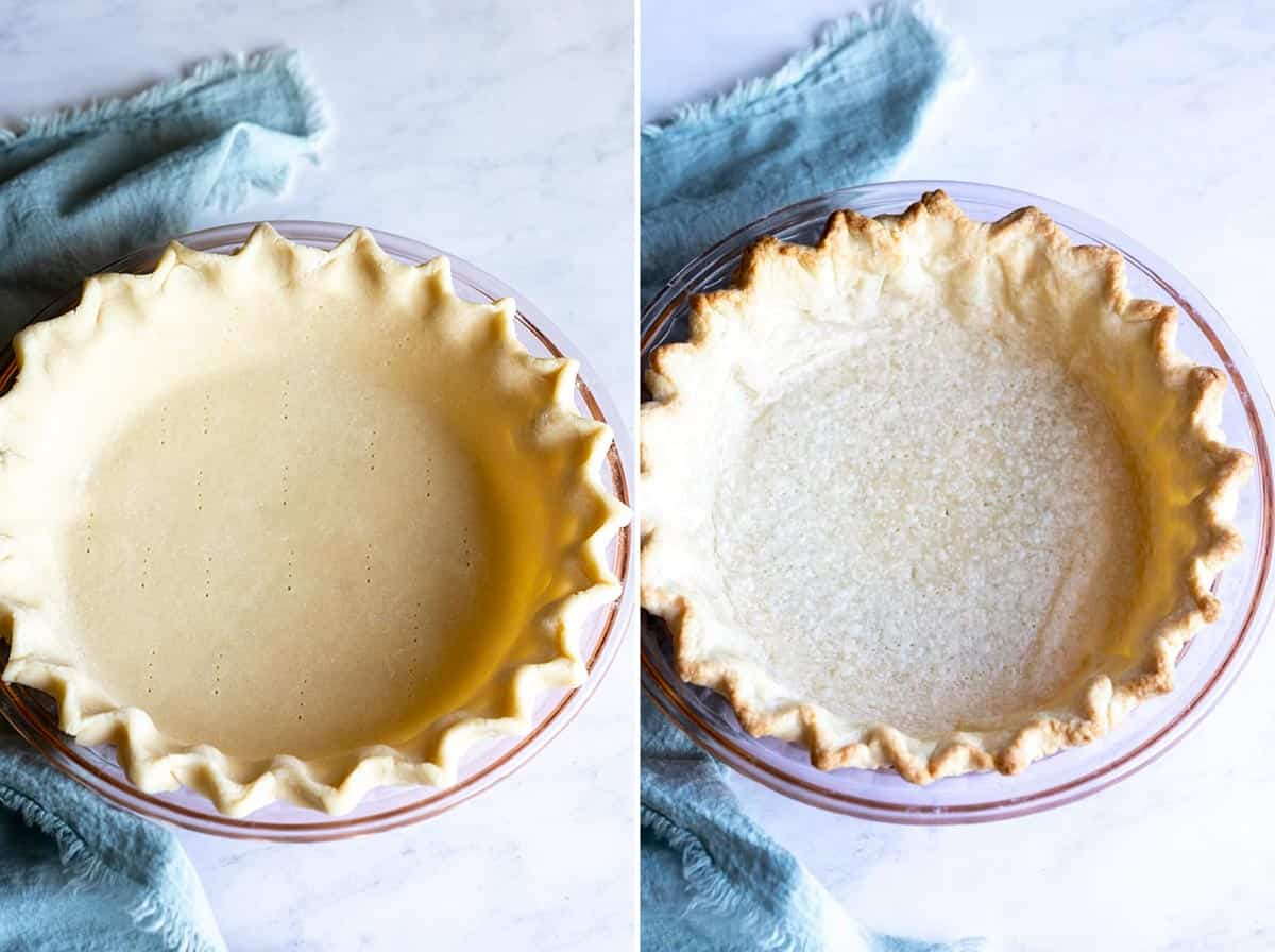 Collage of 2 photos showing unbaked pie crust and par baked pie crust.