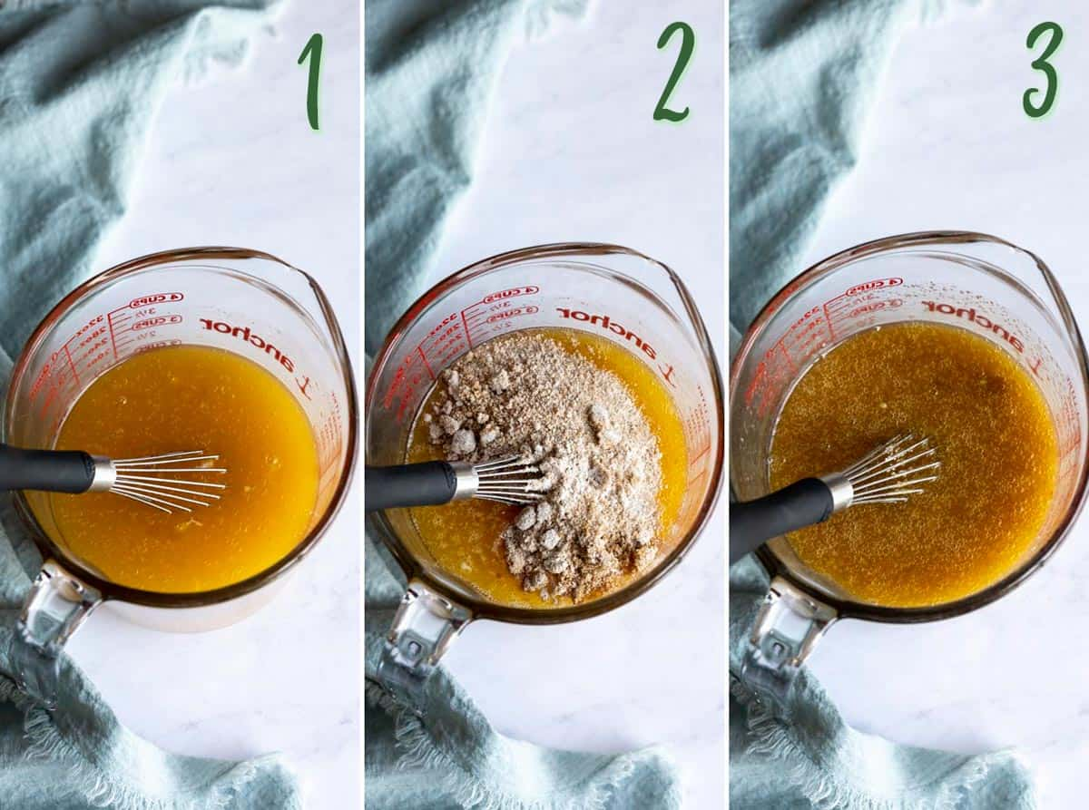 Collage of 3 photos showing how to make the filling.
