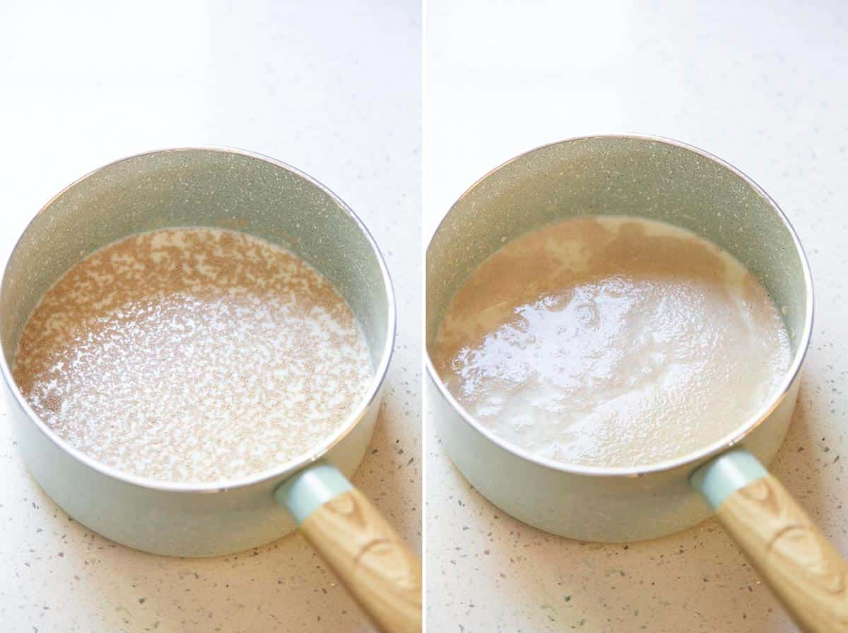 Collage of 2 photos showing: yeast in milk, yeast is puffy.