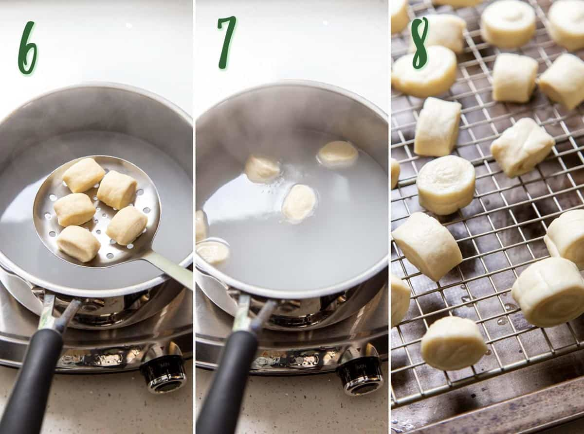 Collage of 3 photos showing how to boil pretzel bites.
