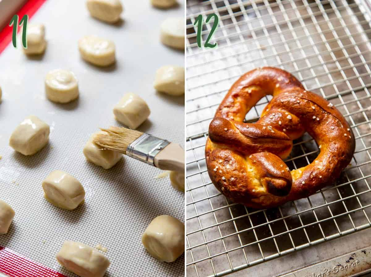 Collage of 2 photos: brushing pretzel bites with egg wash, a baked pretzel on a wire rack.