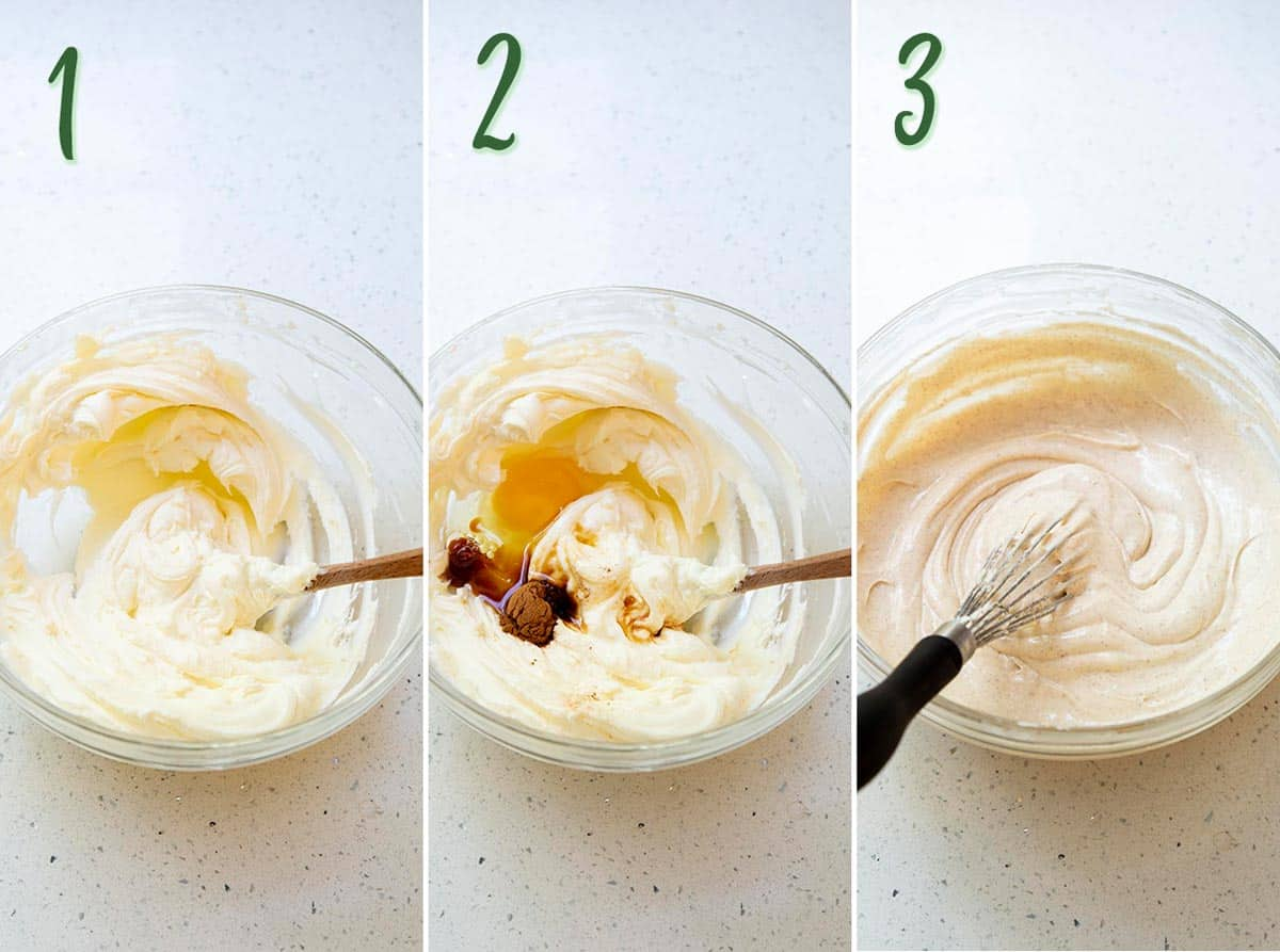 Collage of 3 photos showing how to make cheesecake filling.