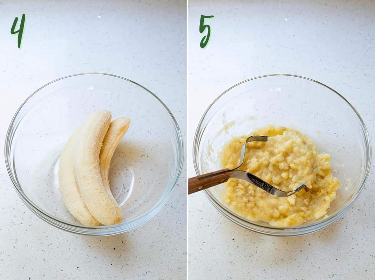 Collage of 2 photos showing the bananas being mashed.