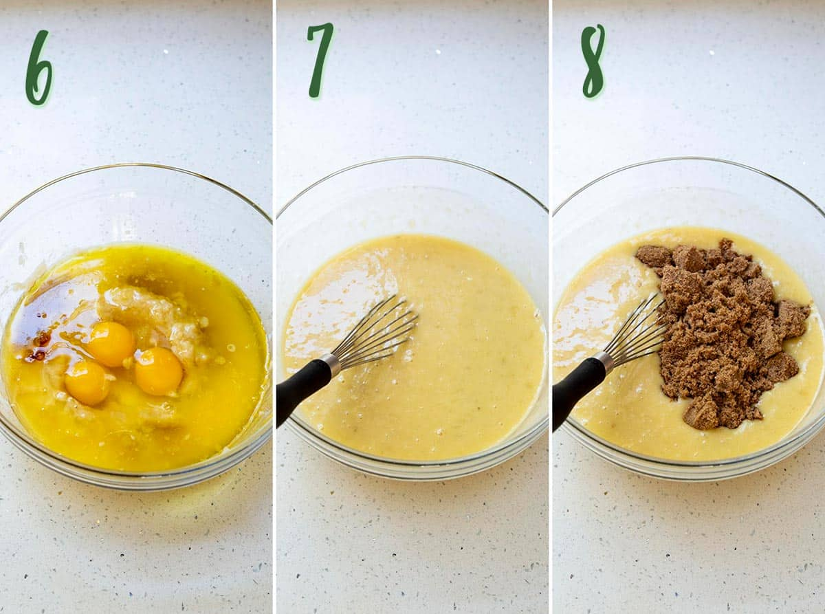 Collage of 3 photos showing the wet ingredients being mixed together.