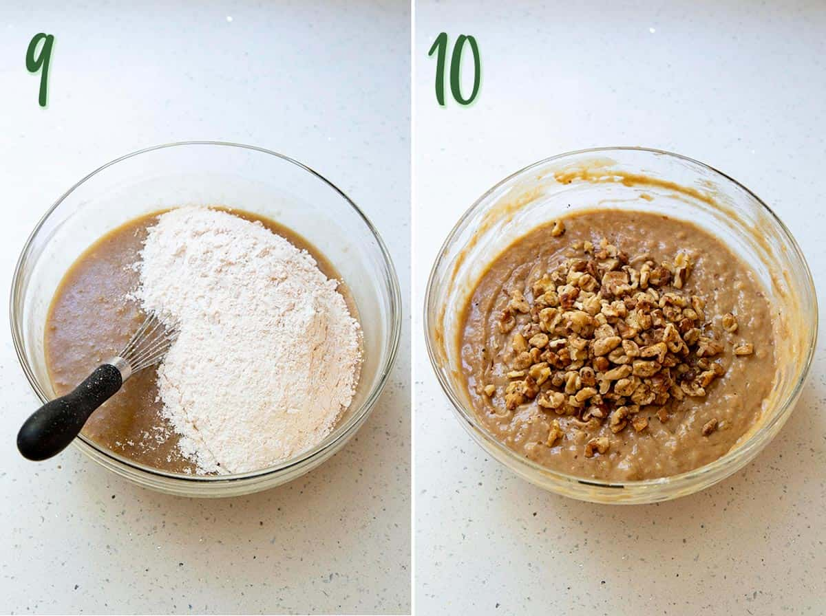 Collage of 2 photos showing the dry ingredients being combined to make the banana cake batter.