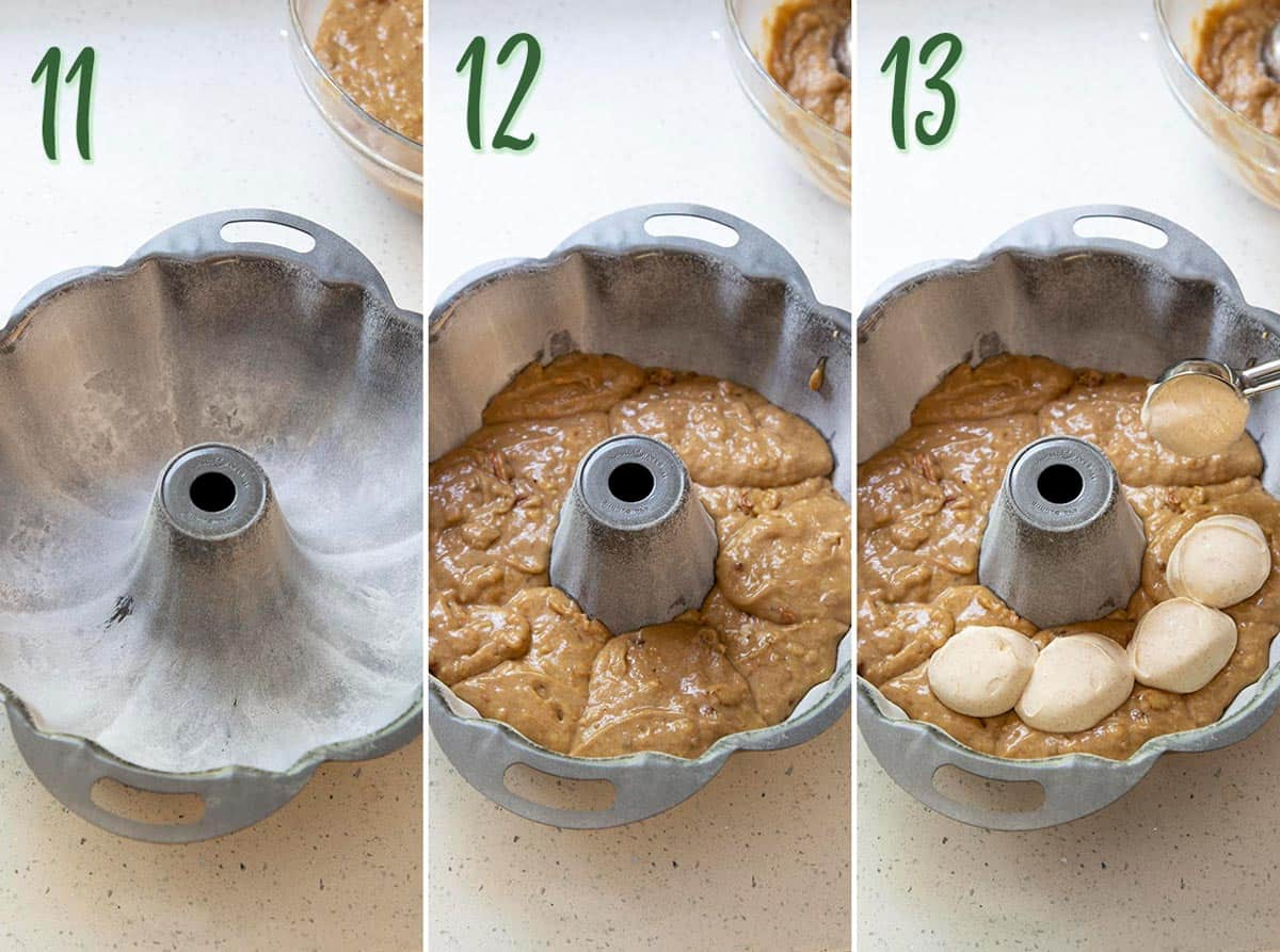Collage of 3 photos showing how to prepare the bundt pan and assemble the cake for baking.